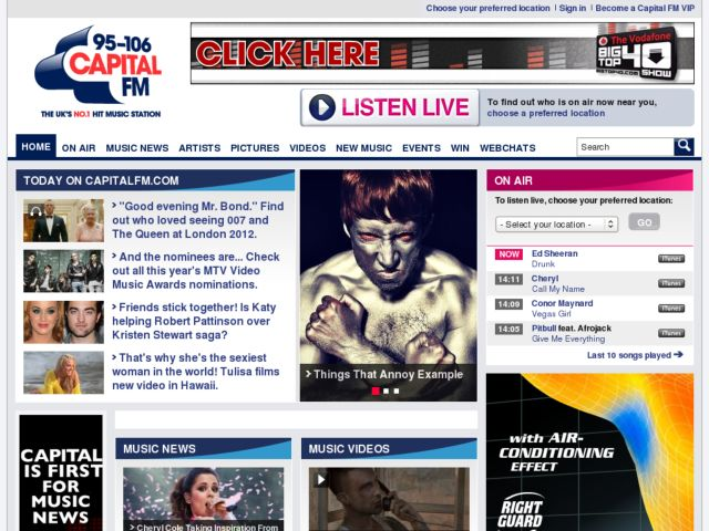 screenshot of Capital Radio