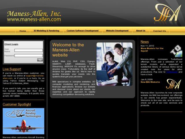 screenshot of Maness-Allen, Inc.