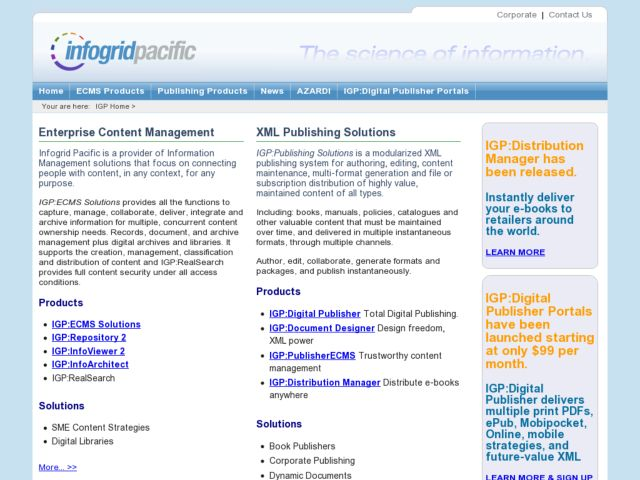 screenshot of Infogrid Pacific Web Site