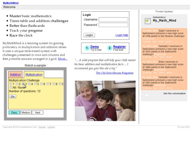 screenshot of MyMathMind