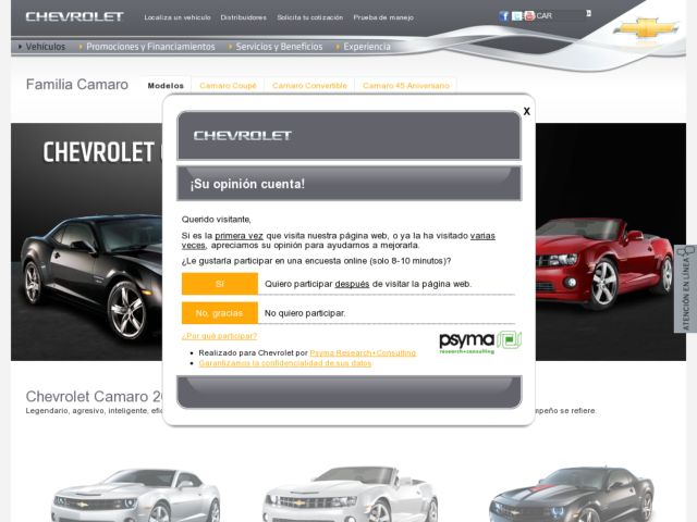 screenshot of Chevrolet Camaro Mexico