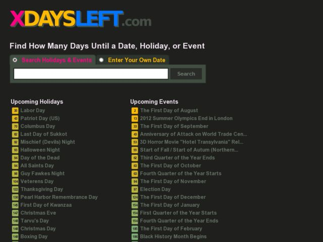 screenshot of xDaysLeft
