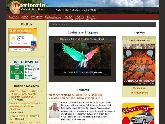screenshot of Territorio de Coahuila y Texas