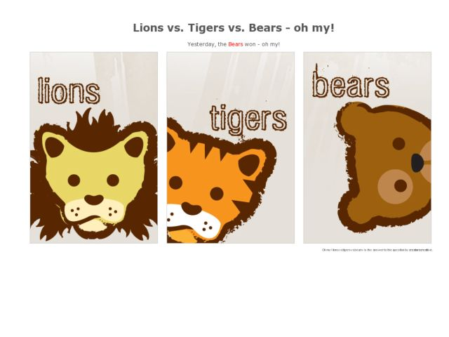screenshot of Lions vs. Tigers vs. Bears
