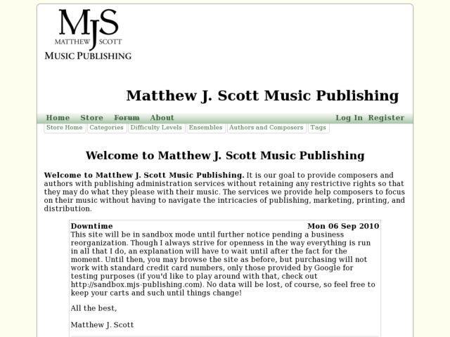 screenshot of Matthew J. Scott Music Publishing