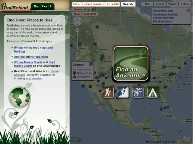 screenshot of TrailBehind.com - Find Great Places to Hike