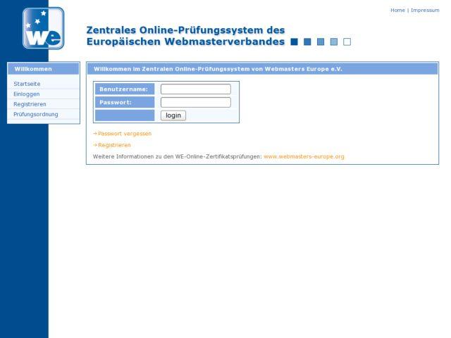 Exam application for Webmasters Europe e.V.