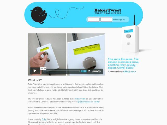 screenshot of BakerTweet