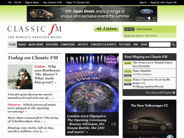 screenshot of ClassicFM
