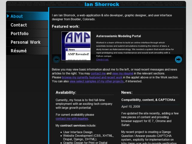 screenshot of Ian Shorrock's Portfolio