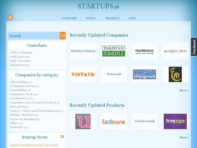 screenshot of Startups.pk