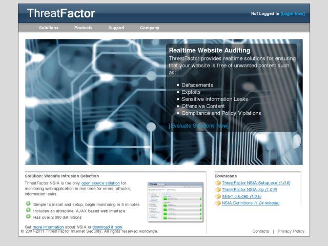 screenshot of ThreatFactor.com