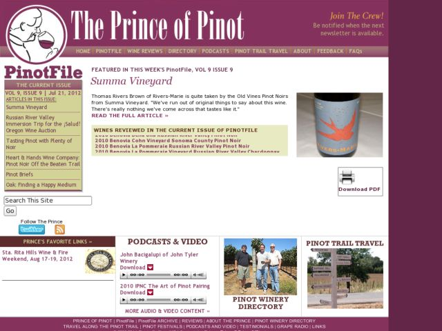 screenshot of The Prince of Pinot