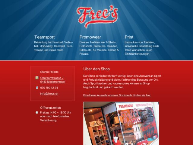 screenshot of Free's Teamsport, Promowear & Print