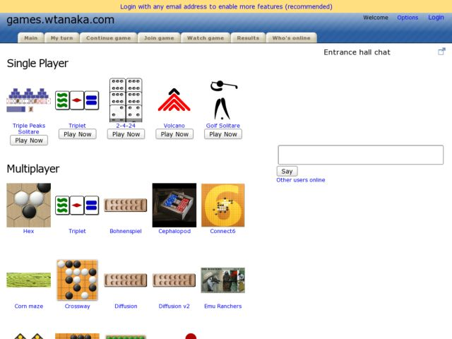 screenshot of games.wtanaka.com