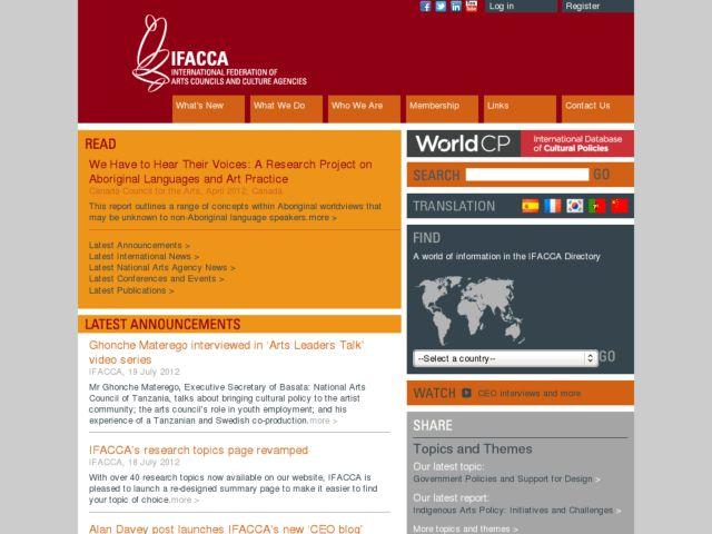 screenshot of IFACCA