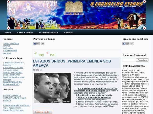 screenshot of O Evangelho Eterno