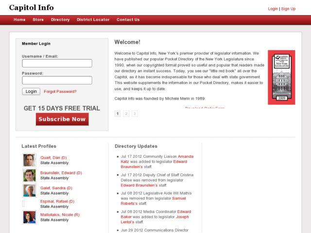 screenshot of Capitol Info - Online New York State Legislature