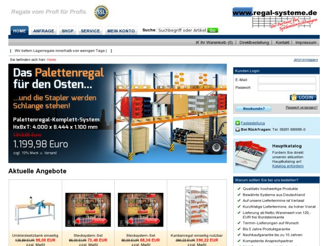screenshot of Regal-Systeme.de