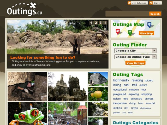 screenshot of Outings.ca