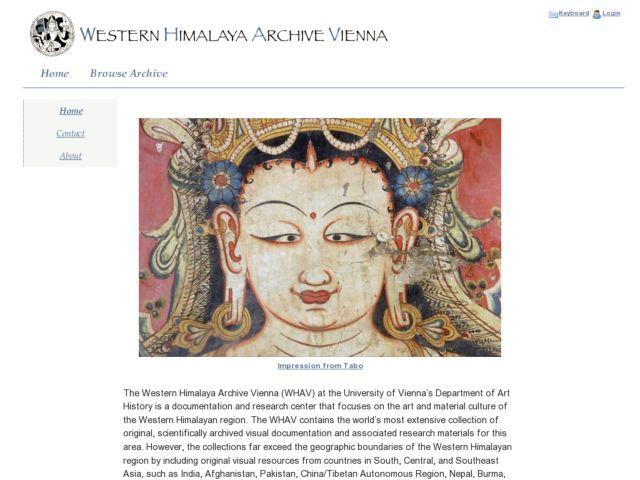 screenshot of Western Himalya Archive Vienna