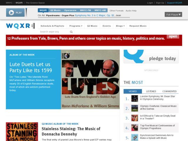 screenshot of WQXR