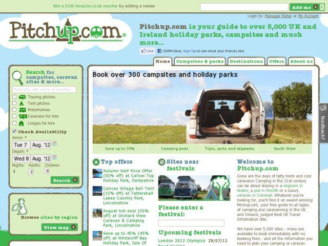 screenshot of Pitchup.com