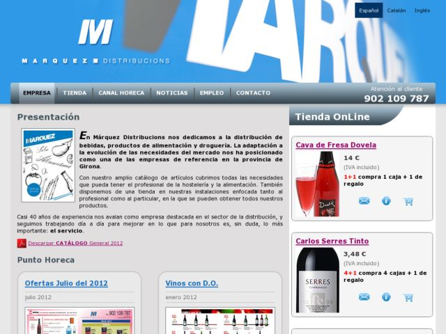Marquez Distribucions web site