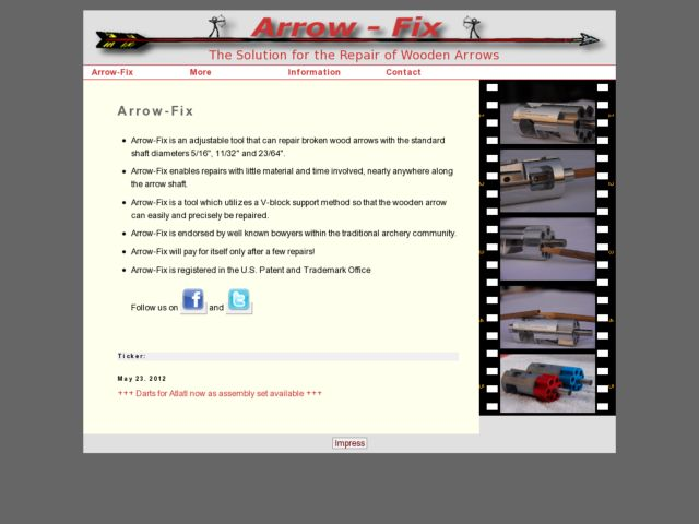 screenshot of Arrow-Fix, the solution for the repair of wooden arrows