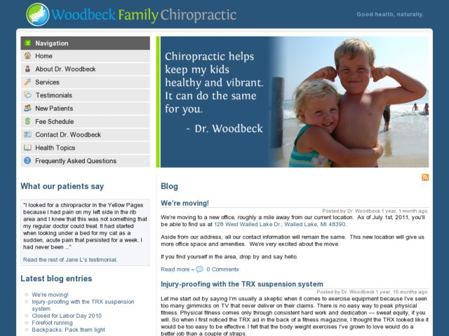 screenshot of Woodbeck Family Chiropractic