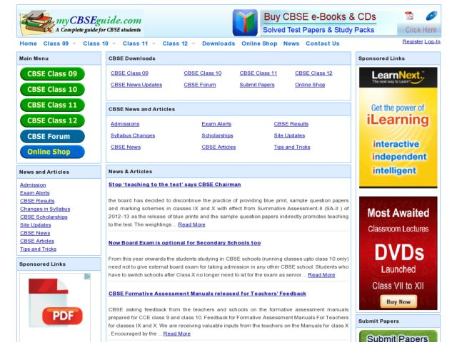 screenshot of mycbseguide.com