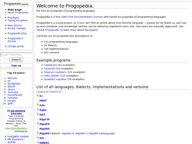 Progopedia, the free encyclopedia of programming languages