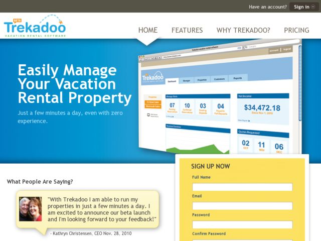 screenshot of Trekadoo Vacation Rentals