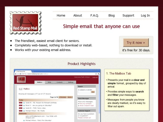 screenshot of Red Stamp Mail
