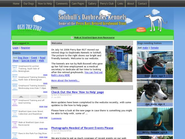screenshot of Perry Barr Dog Rehoming