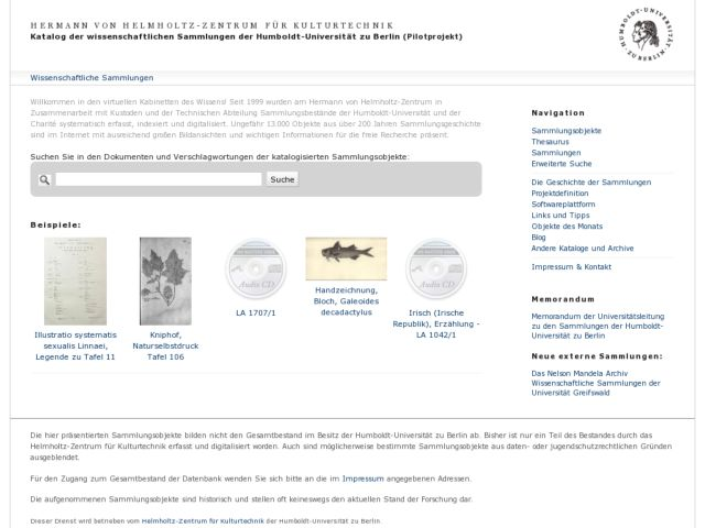 screenshot of University Research Collections