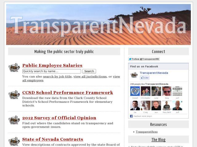 screenshot of TransparentNevada