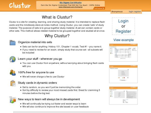 screenshot of Clustur