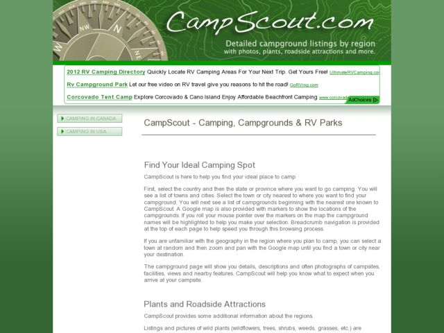 screenshot of CampScout