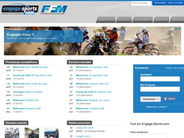screenshot of Engage Sports