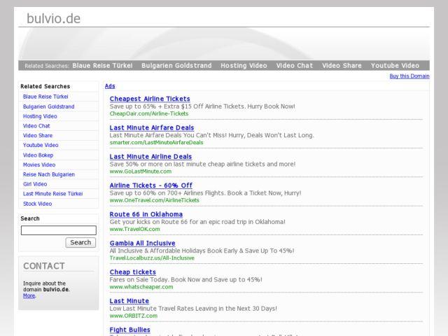 screenshot of Last Minute Reisen, Urlaub, Flug und Hotel günstig buchen - Bulvio Reiseportal