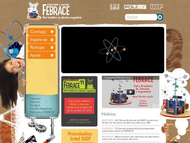 screenshot of FEBRACE - Feira Brasileira de Ciências e Engenharia