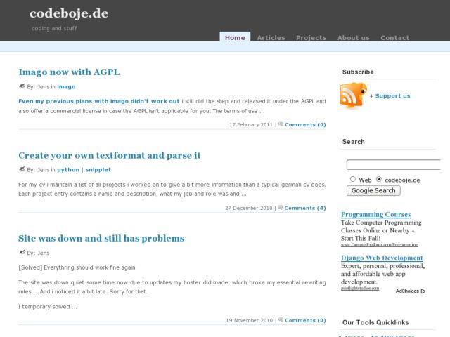 screenshot of Codeboje Developer Site