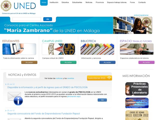 screenshot of UNED Málaga