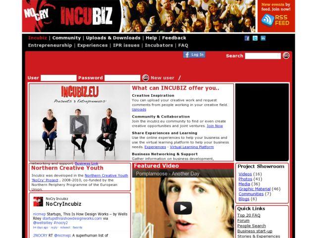 screenshot of Incubiz