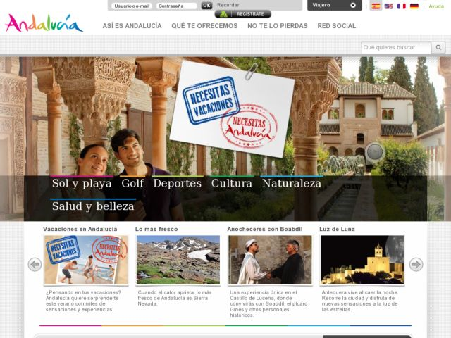 screenshot of Official Andalusia tourism website