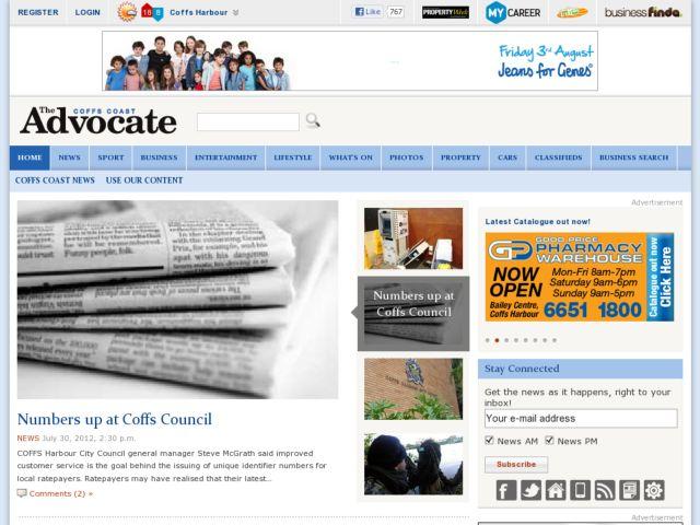 screenshot of The Coffcoast Advocate