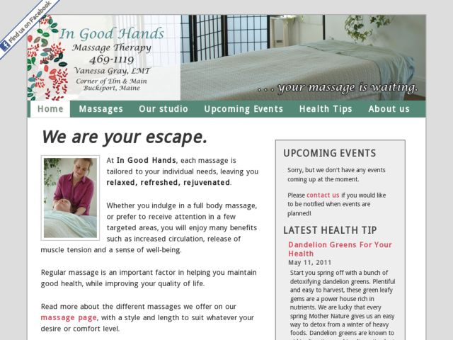 screenshot of In Good Hands Massage