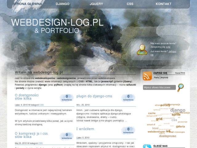 screenshot of Webdesign-log