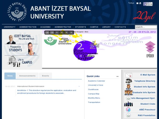 screenshot of Abant İzzet Baysal Üniversitesi